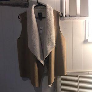 gap suede fur vest